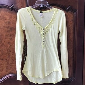 Free People Yellow Henley w/ Cotton Crocheted Lace
